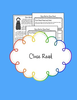Women's History Month Close Read and Writing: Clara Barton