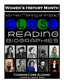 Women's History Month Close Reading Biographies