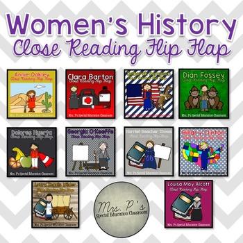 Women's History Month Close Reading Flip Flaps