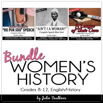 Women's History Month English Lessons for Teens, Themed Unit, Gender Equality