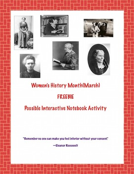 Women's History Month FREEBIE(possible Interactive Noteboo