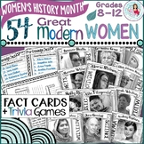 Women's History Month Biography Fact Cards, Trivia Games,
