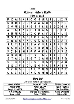 Women's History Month ~ Find-a-word ~ Word search