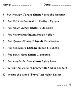 Women's History Month Following Directions (Prepositions, Cardinal, Temporal)