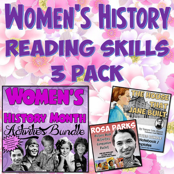 Women's History Month Interactive Notebook & Reading Skills 3 Pack