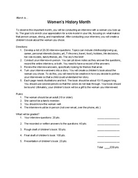 Women's History Month Interview and Children's Book Project