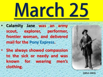 Women's History Month - March Trivia Calendar (PowerPoint)