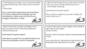 Women's History Quote Analysis Task Cards (with free bonus activity!)