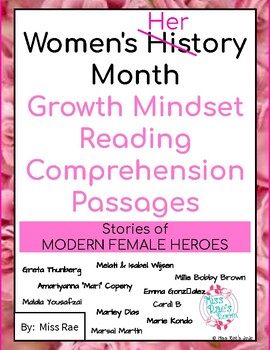 Women's History Month Growth Mindset Reading Comprehension Passages