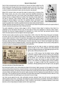 Women's History Month - Reading Comprehension Worksheet (ESL, ELL, ELT)