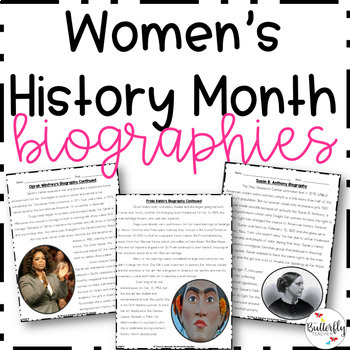 Women's History Month Reading Passages with Questions Worksheets