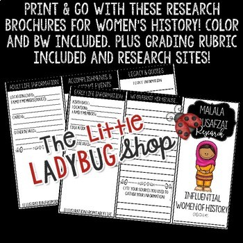 Influential Women's History Month Research Project & Rubric [Brochures]
