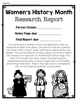 Women's History Month Research Report w/ Optional Visual Display