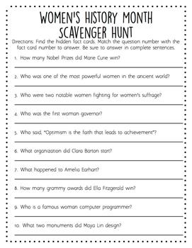 Women's History Month Scavenger Hunt