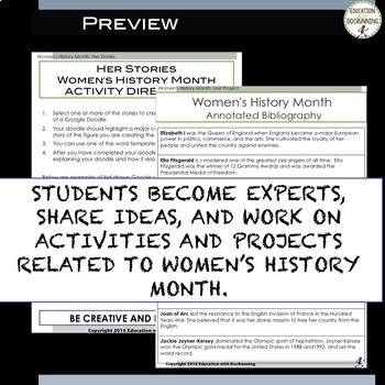Women's History Month Bundle of projects and activities