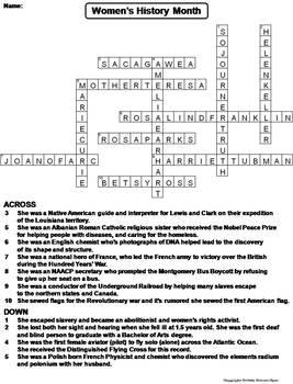 Women's History Month Worksheet/ Crossword Puzzle