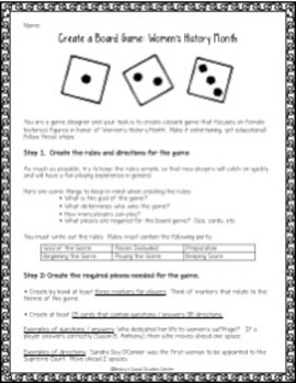 Women's History Month for Middle School - Create a Board Game Project