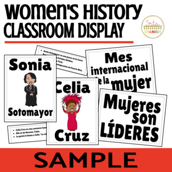 Women's History Month in Spanish Classroom Display FREEBIE