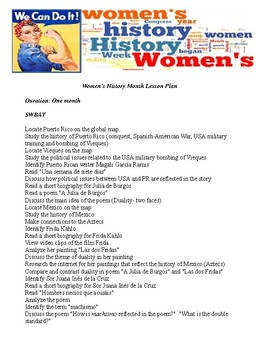 Women's History Month lesson plan focusing on Latinas