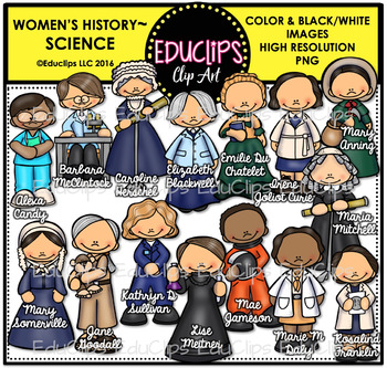 Women's History – Science Clip Art Bundle {Educlips Clipart}