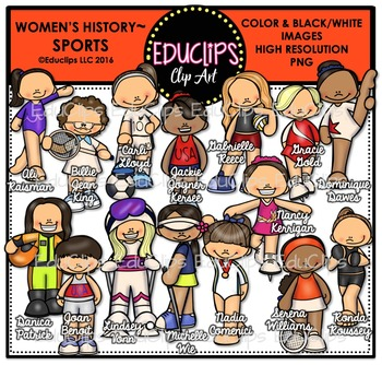 Women's History – Sports Clip Art Bundle {Educlips Clipart}