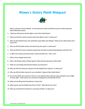 Women's History WebQuest - Internet Scavenger Hunt
