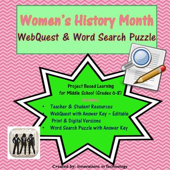 Women's History WebQuest - Internet Scavenger Hunt