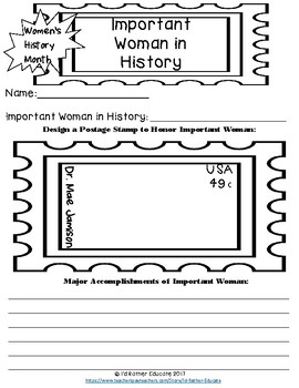 Women's History Month Biography Activity