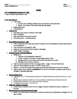 Women's Rights 1920, 1930, 1940 Lesson plan