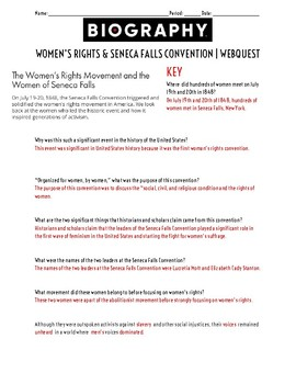 Women's Rights & Seneca Falls Convention Webquest WITH KEY!