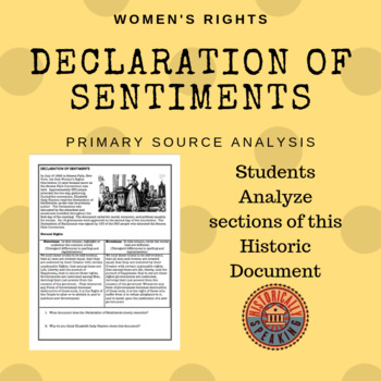 Women's Rights: The Declaration of Sentiments