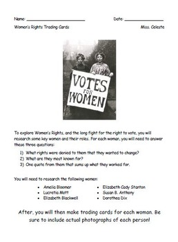 Women's Rights Trading Cards