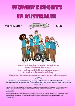Women's Rights Wordsearch and Quiz - Australian History