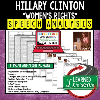 Women's Rights by Hillary R. Clinton Speech Analysis and Writing Activity