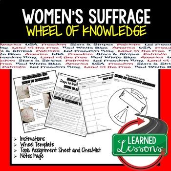 Women's Suffrage Activity, Wheel of Knowledge