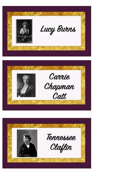 Women's Suffrage Cards for Bulletin Board or Heads Up Game