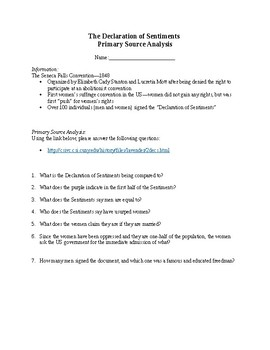 Women's Suffrage - Declaration of Sentiments Primary Source Analysis