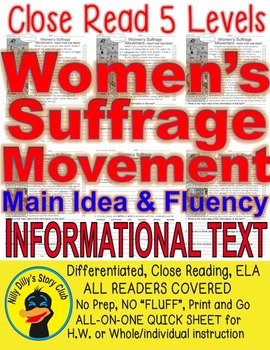Women's Suffrage Movement FACTS 5 levels Close Read Differentiated PRINT-N-GO