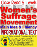 Women's Suffrage Movement FACTS CLOSE READING 5 LEVEL COMPREHENSION PASSAGES