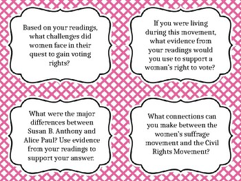 Women's Suffrage Movement Question Cards