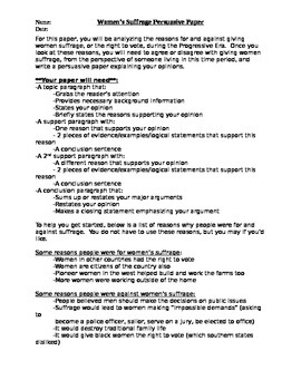 Essay On My School In English Womens Suffrage Persuasive Essay Proposal Essay Example also Science And Technology Essay Womens Suffrage Persuasive Essay By Nd Chance Works  Tpt Causes Of The English Civil War Essay