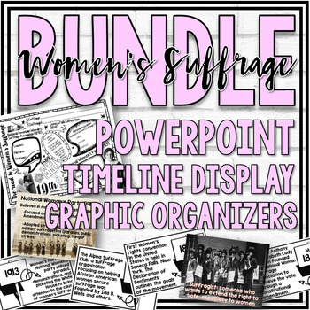 Women's Suffrage PowerPoint, Timeline Display, & More BUNDLE!