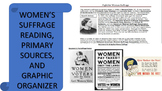 Women's Suffrage Reading & Primary Source w/ Graphic Organizer Distance Learning