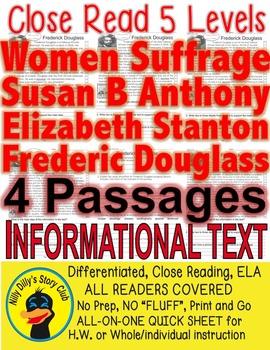 Women's Suffrage Susan B, Elizabeth S, Frederick D, 4 Passages 5 levels Each