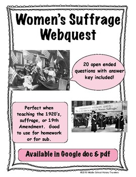 Women's Suffrage Webquest (19th Amendment, Women voting)