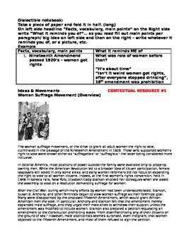 Women's Suffragists/ Women's Rights Lesson plan