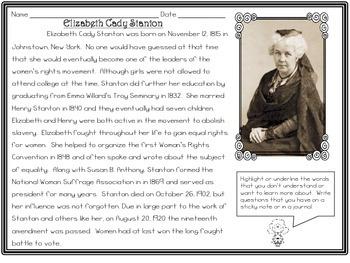 Women's History - Elizabeth Cady Stanton - Close Read and Activities