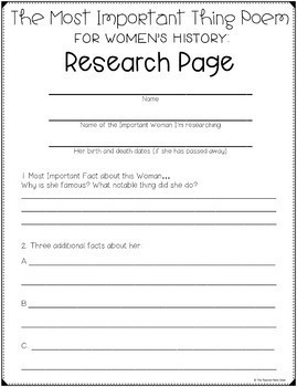 Women's History Freebie The Important Thing Poem