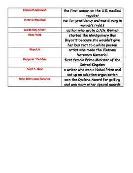 Women's History Match-Up