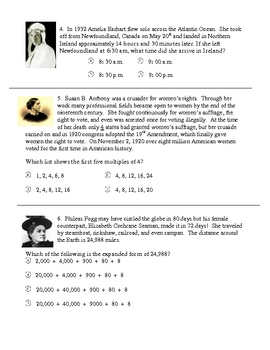 Womens History Math Problems 4th Grade